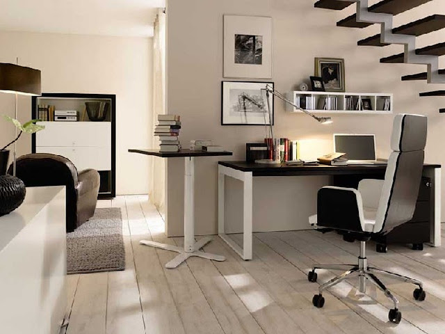 Home Office White Colored Theme Design