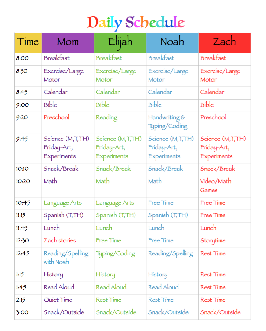 This is a photo of Astounding Homeschool Daily Schedule Printable