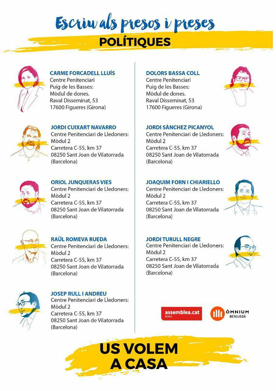 Adreces dels presos i preses a Catalunya