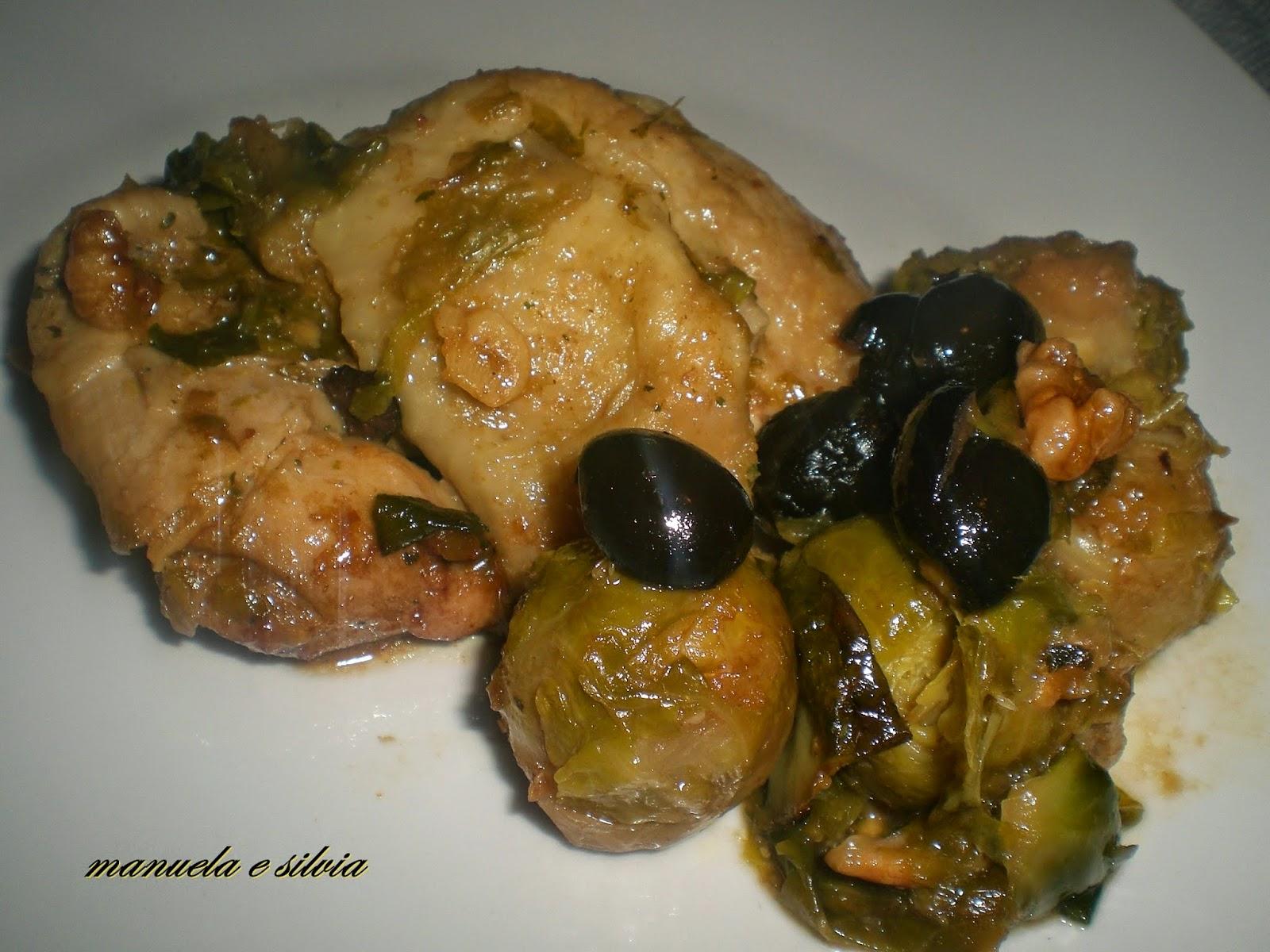sovracosce di pollo ai cavolini, olive nere, croccanti noci e panettone
