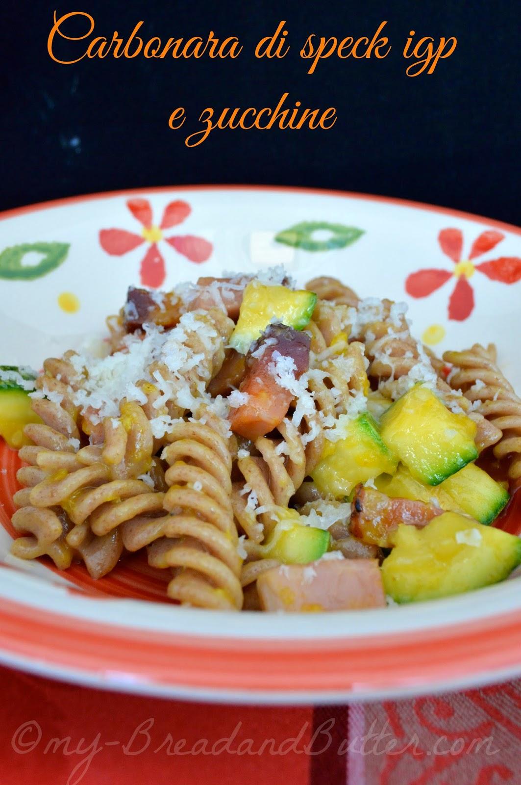 Carbonara di speck e zucchine con pasta di farro