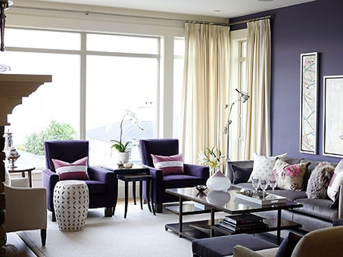 Glamour e glac casa salas de estar em tons de roxo e lil s - Purple and black living room ideas ...