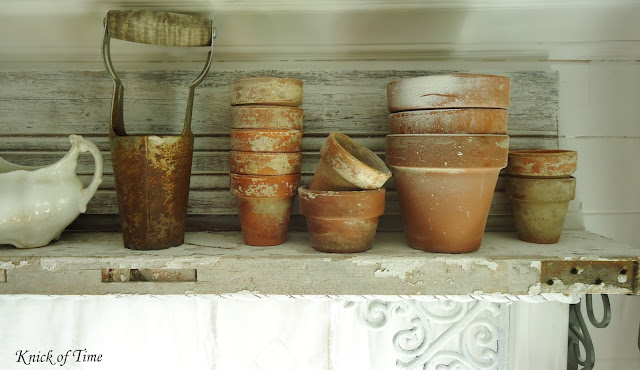 Farmhouse Kitchen Remodel vintage terra cotta pots repurposed vintage garden tools - www.KnickofTime.net