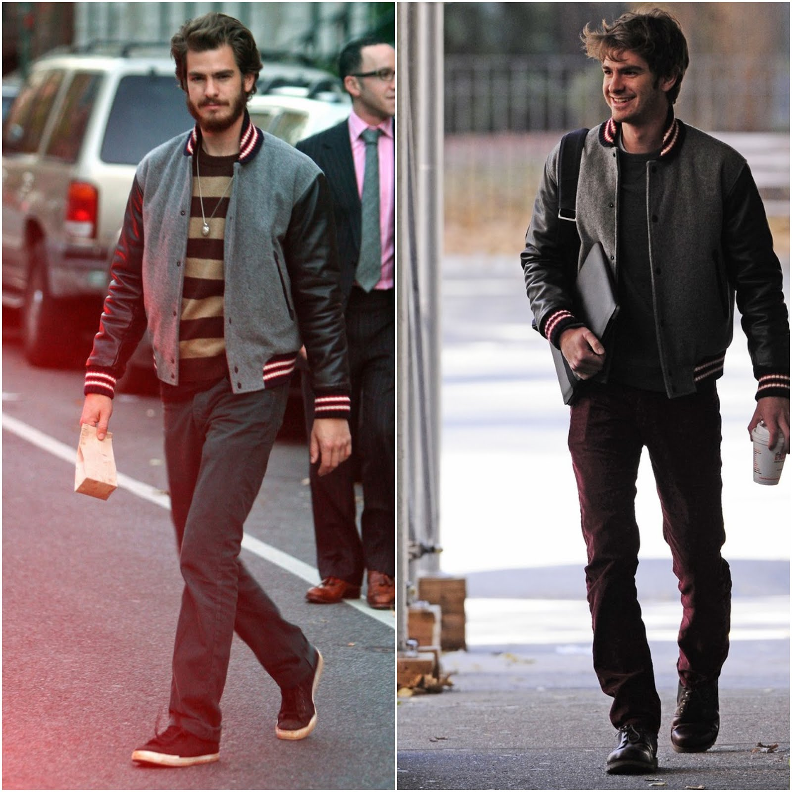 00O00 London Menswear Blog Celebrity Style Andrew Garfield Emma Stone Chelsea New York Rag & Bone basebal varsity jacket