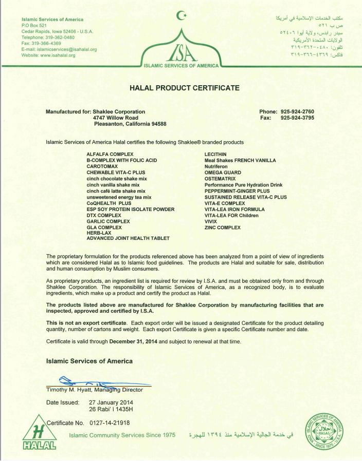 Sijil Halal Produk Shaklee (Terkini)