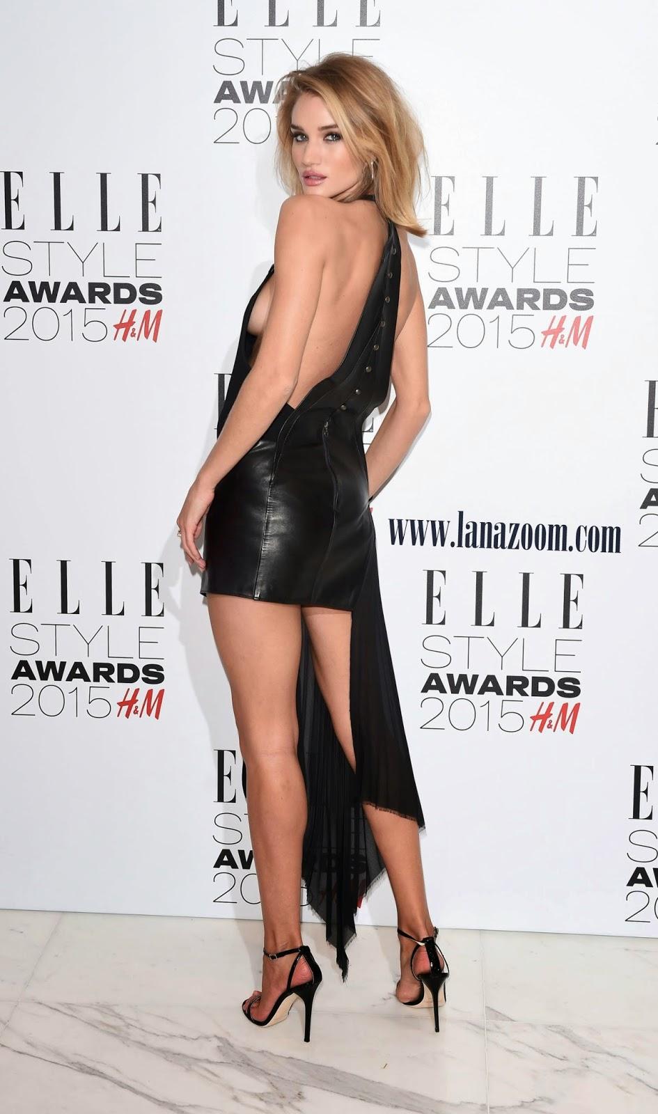 روزي هنتنغتون في ثوب أسود مثير في حفل Elle Style Awards  في لندن