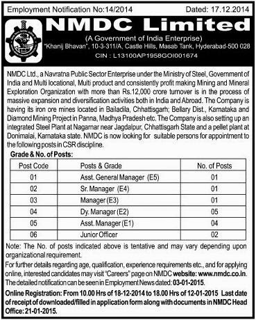 NMDC Jobs for CSR Departments (www.tngovernmentjobs.in)
