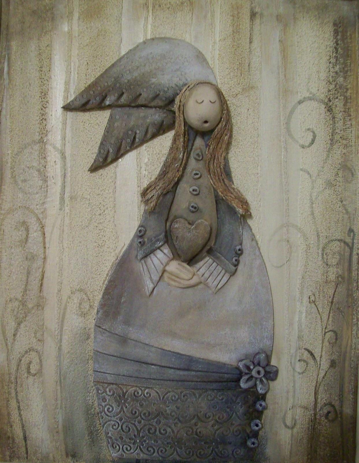 Vintage angel paintings vintage art deco handmade for Classic art deco