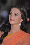 Amy Jackson Hot Stills in Transparant Saree