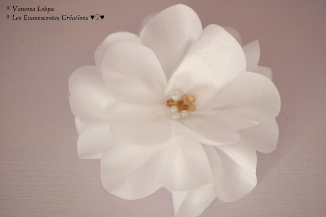 accessoire cheveux headband fleurs organza taffetas soie blanche vanesas lekpa cristal