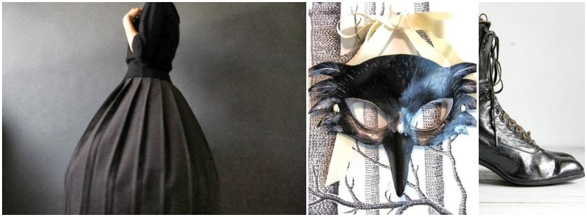 halloween, costume, raven mask, vintage skirt, edwardian shoes