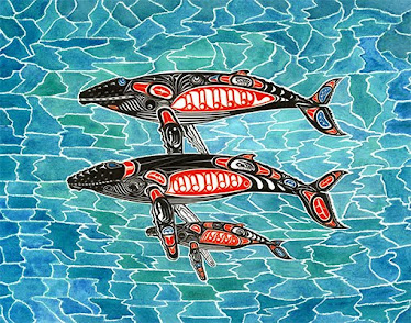 "#007 'OHANA', Humpback whale family Unlimited print 22""x28"" @ $100.00"