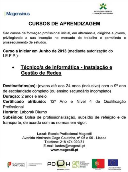 Curso financiado de Técnico de Informática nível IV (Instalação e Gestão de Redes) – Lisboa