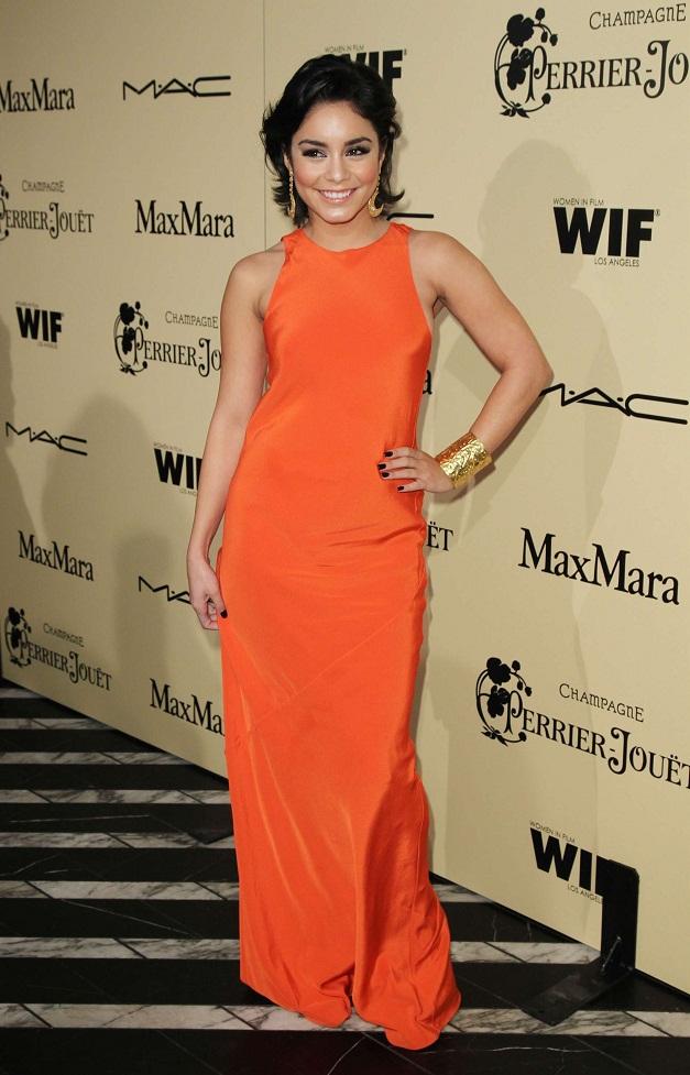 Vanessa Hudgens Flaunts A Tangerine Dress At The Women In Film Pre