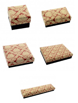 Red and Gold Textured Printed Paper Jewelry Boxes
