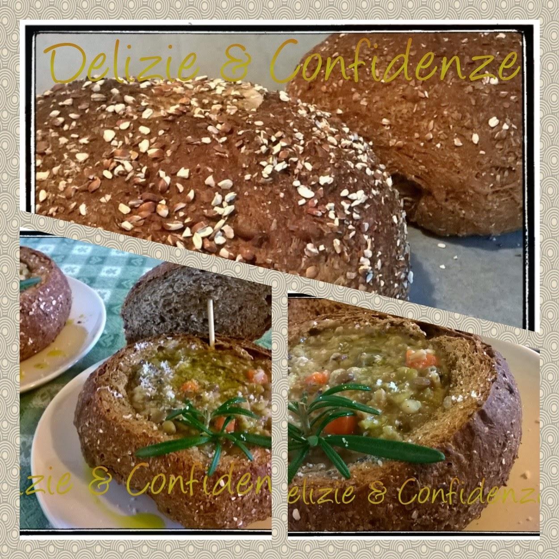 zuppa primavera in ciotole di pane ai semi di girasole, avena  e lino