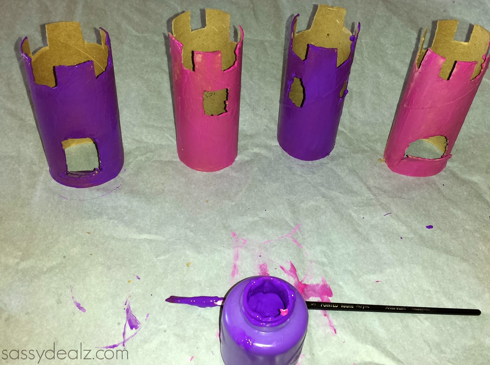 paint toilet paper roll castles