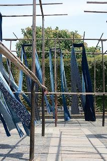 Indigo fabric drying in the wind in Wuzhen