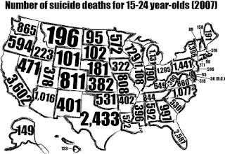 Map outlining the number of U.S suicide deaths per state for 15-24 year olds in 2007