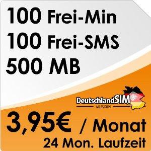 DeutschlandSIM ALL-IN 100 für 3,95 Euro im Monat: 100 SMS, 100 Minuten und 500 MB