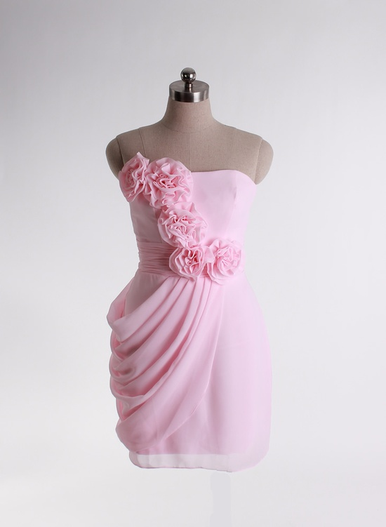Pink flower handicraft gown for ladies