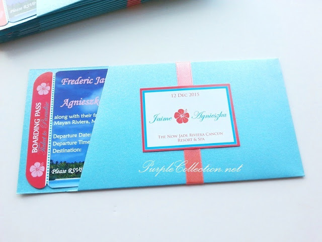 wedding boarding pass card, beach, coconut tree, coral colour, sky blue, peach, turquoise, casual, printing, malaysia, canada, USA, australia, singapore, kuala lumpur, selangor, cetak, modern, hibiscus, photo, mexico, facebook, purple collection, decoration, envelope 80g, art card, pearl card, high quality, travel, passport, design, designer, portfolio, gallery, personalised, personalized, floral, flower, peonies, peony, sweet, elegant, unique, special, one of its kind, ticket to paradise, etsy, sandy, the now jade riviera cancun resort & spa, mayan riviera, international, online order, purchase, buy, china, mass production, minimum order, quantity, barcode, passenger receipt, air asia, MAS