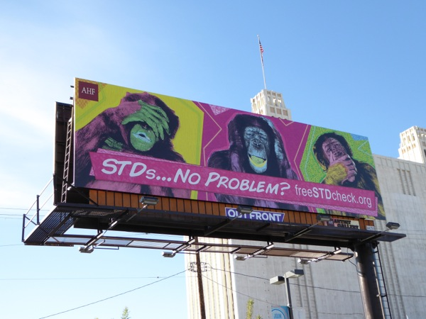 STDs See hear say no evil chimp billboard