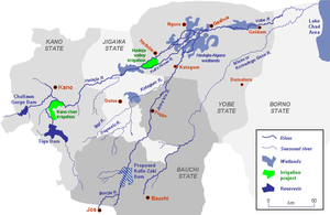 Yobe River catchment area showing location of the Hadejia-Nguru wetlands