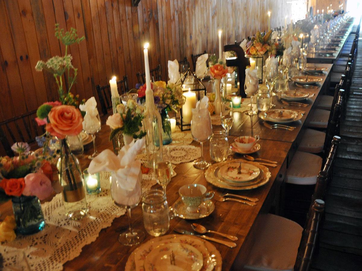 Doily Runner Farm Table
