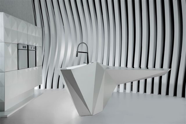 Karim Rashid's Origami kitchen island in for Amr Helmy Designs