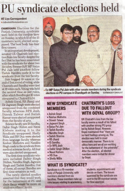 Ex-MP Satya Pal Jain with other senate members during the syndicate elections on PU campus in Chandigarh on Sunday