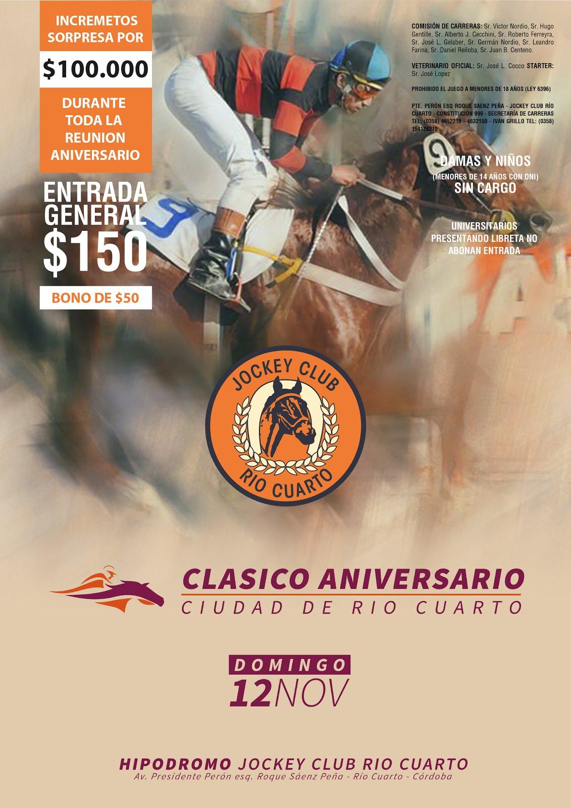 PROGRAMA DE CARRERAS - CLASICO ANIVERSARIO CIUDAD DE RIO CUARTO - JOCKEY CLUB RIO CUARTO