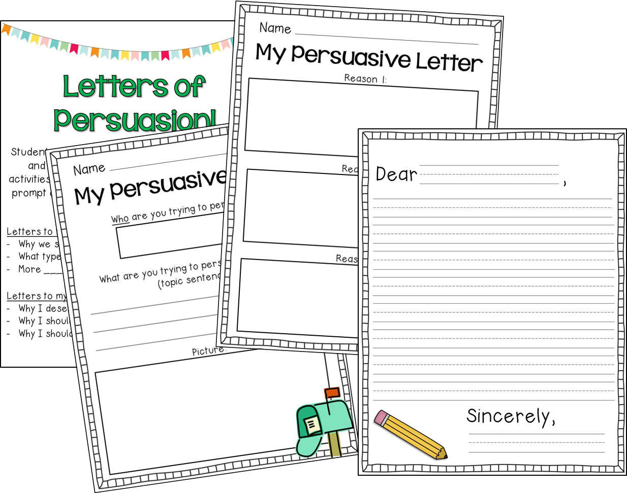 Persuasive Writing Graphic Organizers Writing letters of persuasion