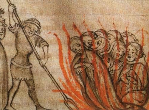 Ilustración Quema de templarios en Francia de autor desconocido