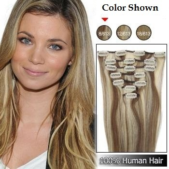 Hair Extensions Clip On Blonde 110