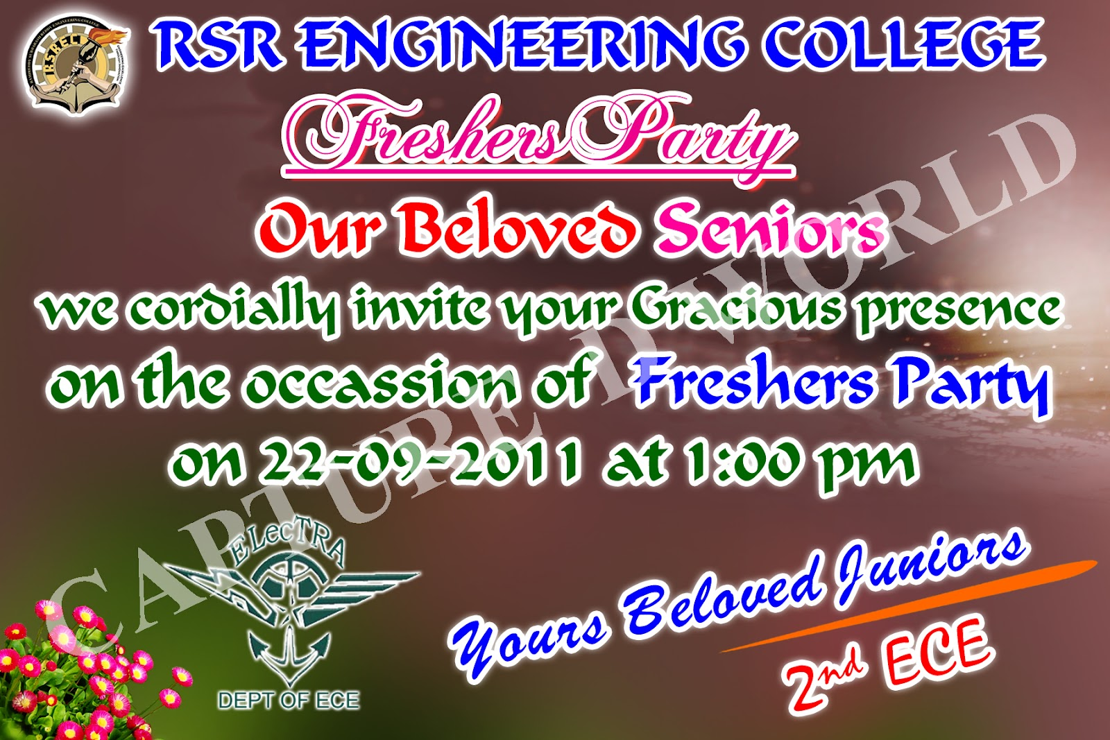 now i have showing the freshers party invitation card