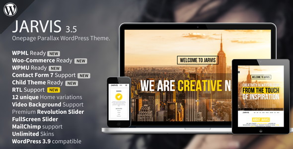 Free Download Jarvis V3.6 - Onepage Parallax WordPress Theme