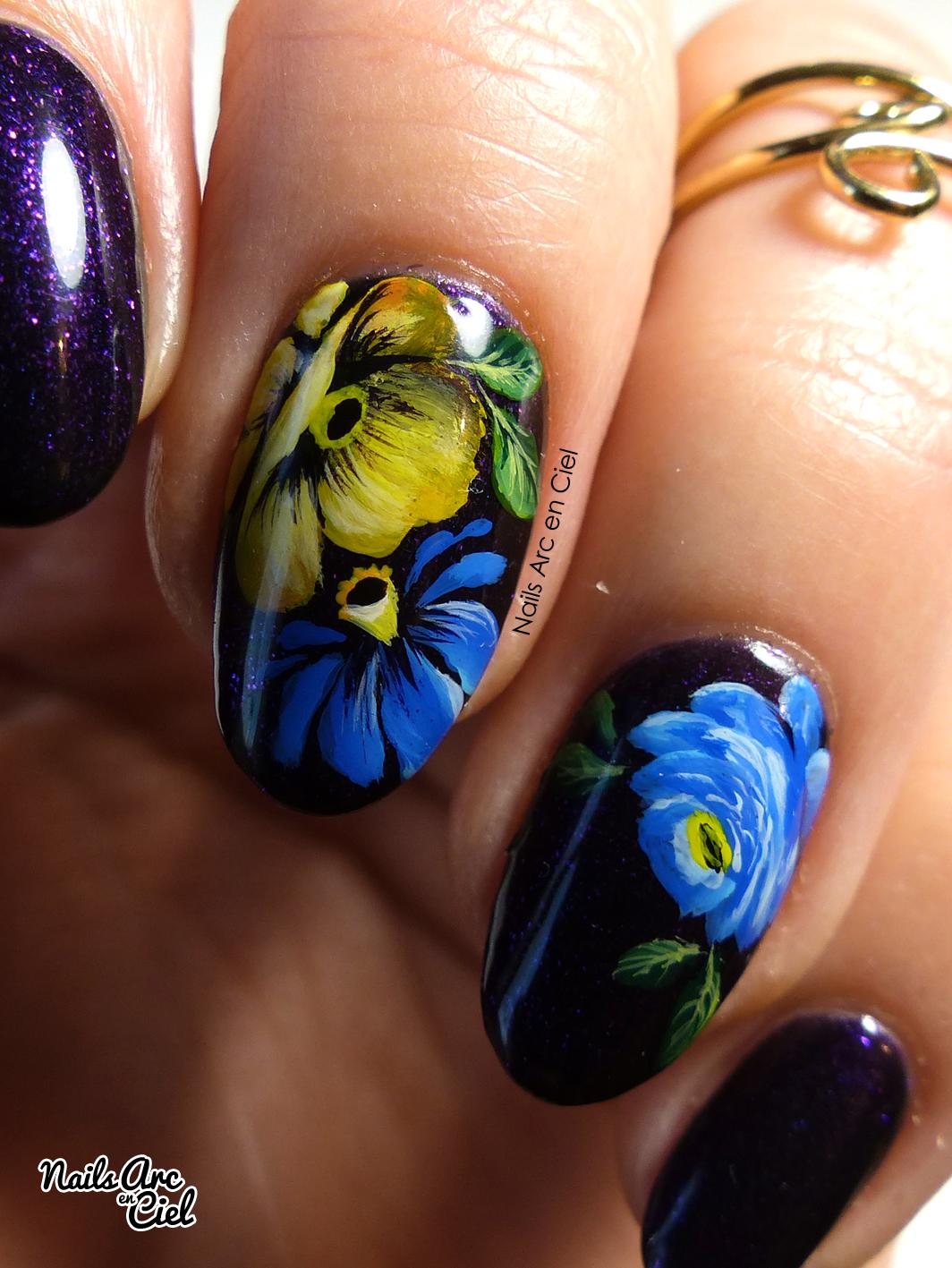 nails arc en ciel nail art fleurs fa on zhostovo. Black Bedroom Furniture Sets. Home Design Ideas