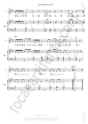 3 Partitura de Piano Acompañamiento a dos manos y Partitura de Voz para coro infantil por José Calatayud Partitura del Villancico Nana Una Nadaleta Per Al Xic Piano Sheet Music & Voice