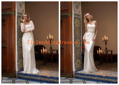 Lace and Satin Sweetheart Column 2 in 1 Bridal Gown with Delicate Beaded Waistband