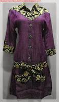 model baju batik kombinasi satin ungu