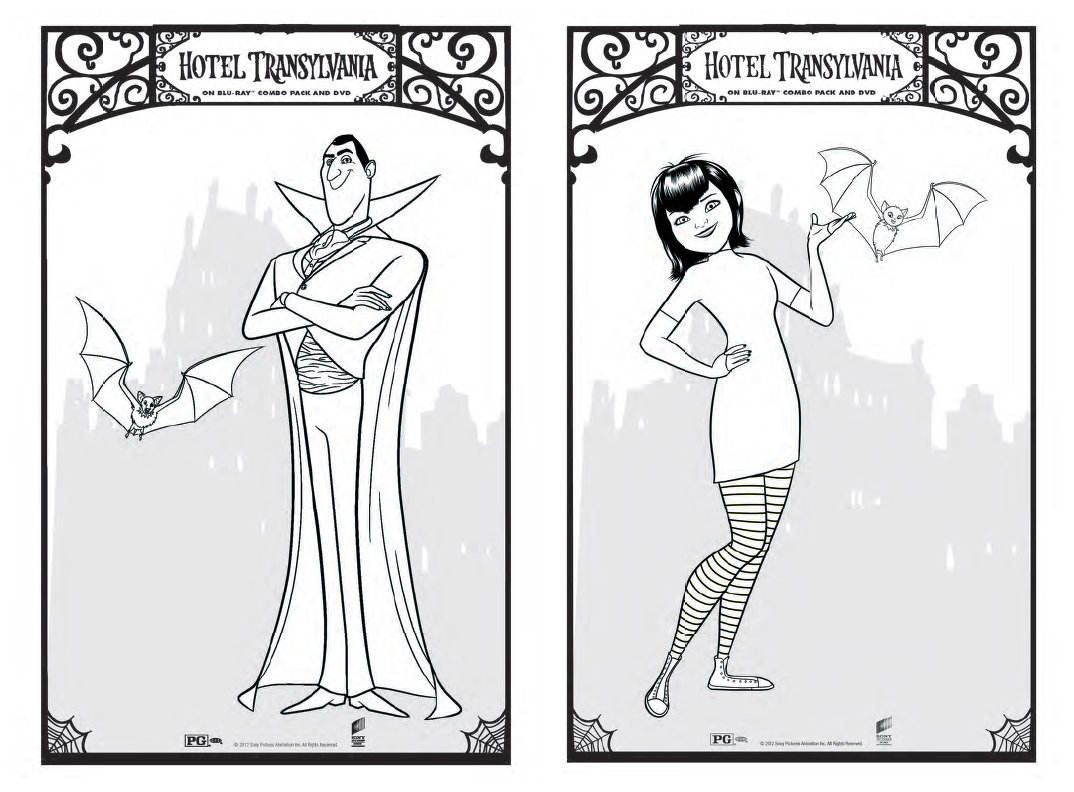 Colouring pages hotel transylvania -  Then We Colored Some Of The Fun Coloring Sheets Included In The Digital Party Kit