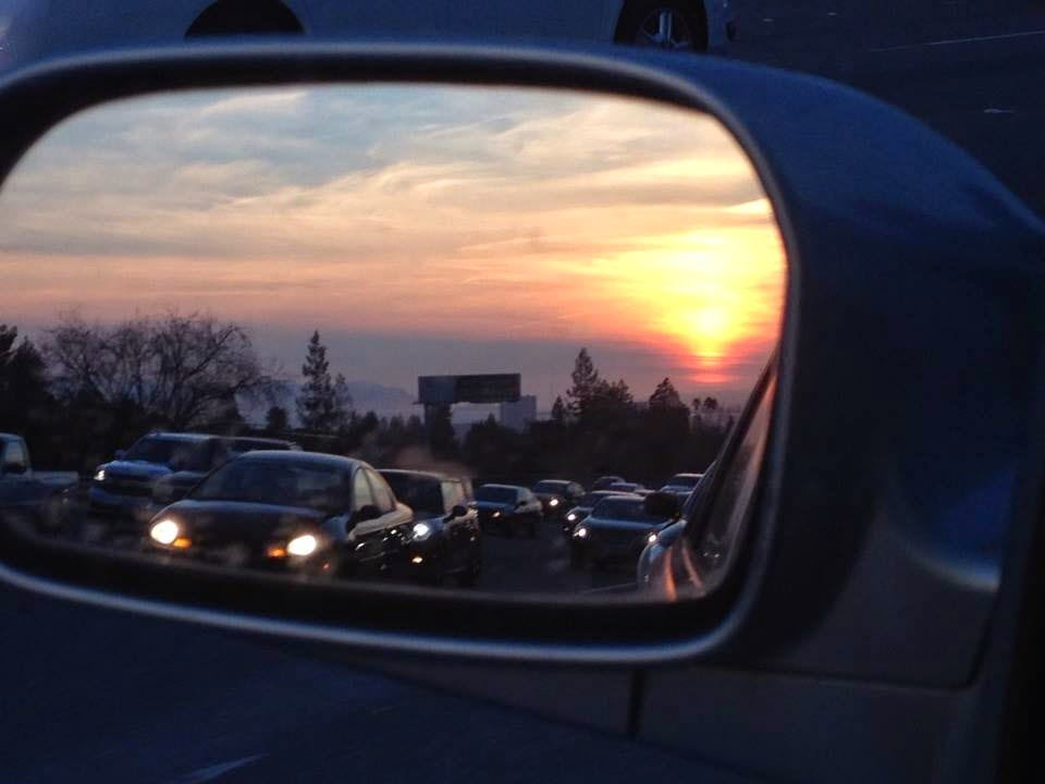 Bay Area Sunset in a Mirror