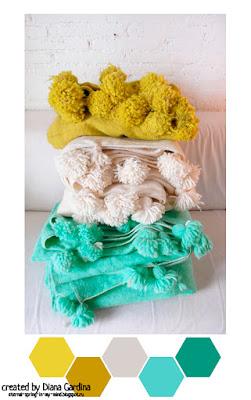Сочетания ярких и насыщенных оттенков и дополнительных цветов-компаньонов. Горчичный, мятный, фуксия, синий, салатовый, изумрудный, серый и бежевый цвета и их сочетания друг с другом.