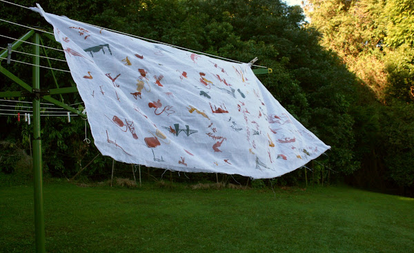 Screenprinted muslin on clothesline