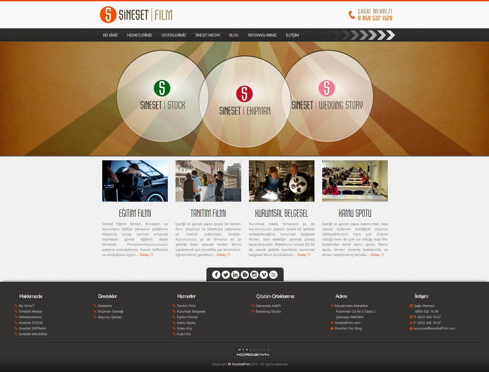 SineSet Film Yapım Responsive Web Design