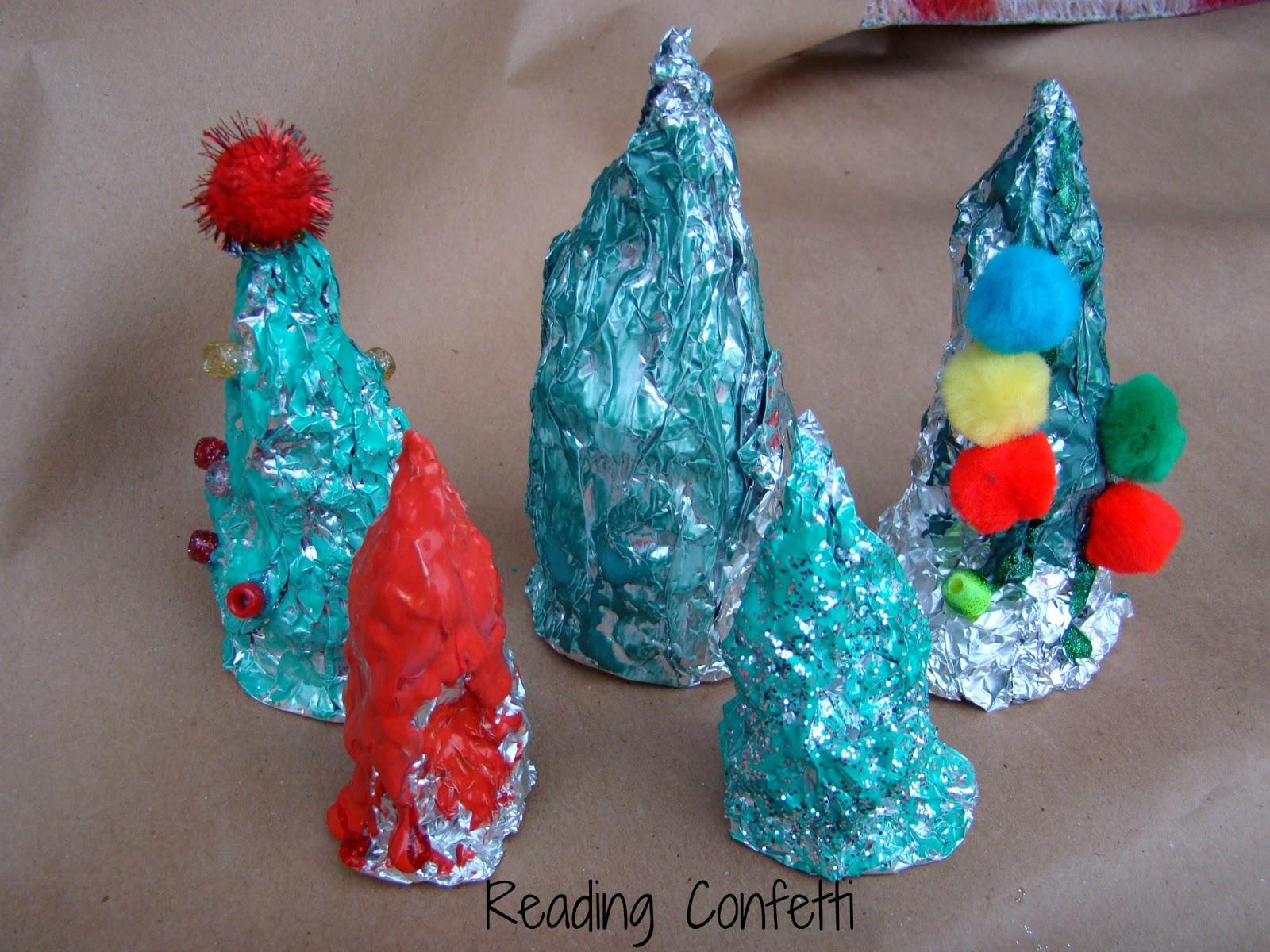 Tin Foil Christmas Tree Sculptures ~ Reading Confetti