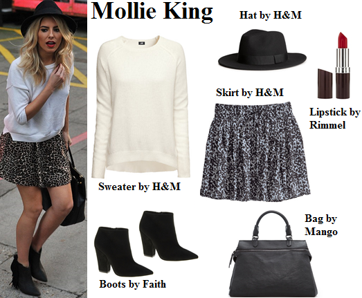 mollie king, the saturdays, leopard skirt, hat, sweater, fall
