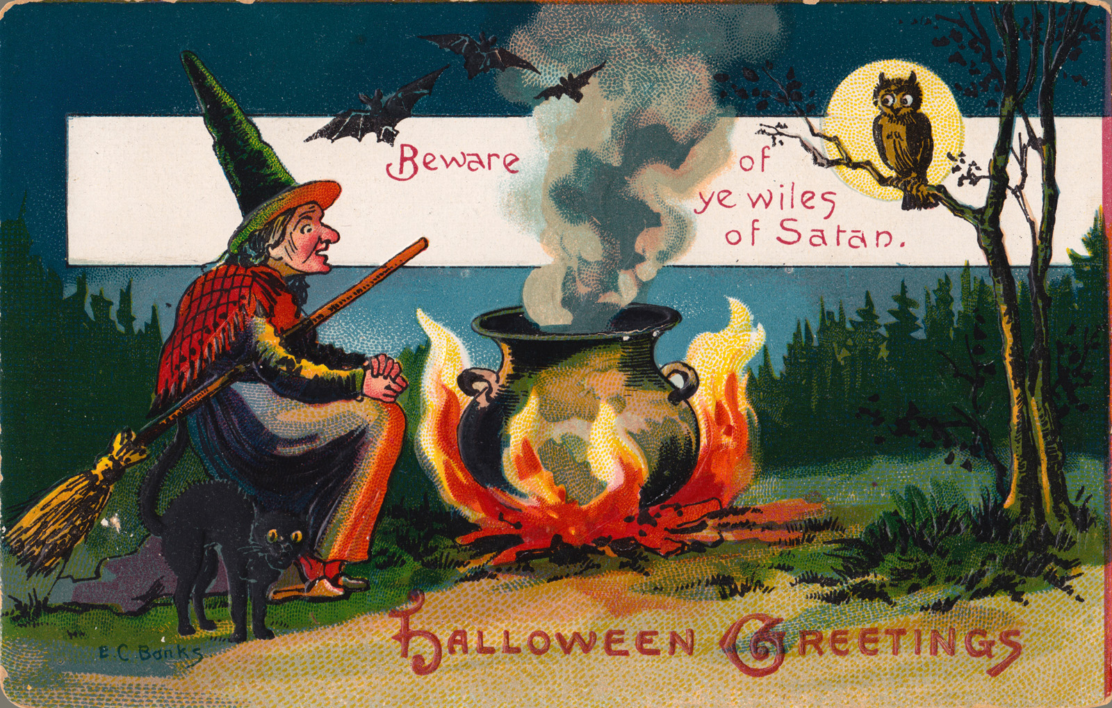 Free vintage clip art images vintage halloween greeting cards vintage halloween greeting card featuring a witch with broom seating near the boiling pot m4hsunfo