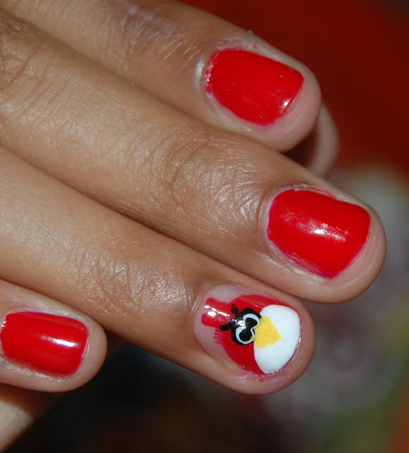 angry birds nail art, maybelline colorshow, keep up the red flame